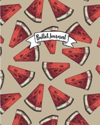 Bullet Journal  Red Watermelon Pattern Cover Notebook, Bullet Journal Dotted Grid, 120 Pages (8 X 10)