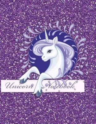 Unicorn Notebook  Fun Faux Sparkle Cover - Lined and Sketch Journal Pages for Unicorn Lovers - Composition Notebook - Blue Festive Unicorn - Purple Cover