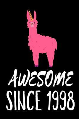 Awesome Since 1998  Funny Pink Llama Birthday Gift Notebook for Women