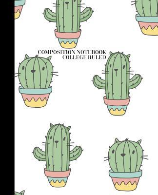 Composition Notebook  Cactus Design College Rule 7.5x9.25 100 Lined Pages Matte Soft Bound