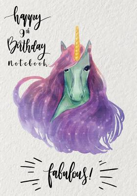 Happy 9th Birthday Notebook  Writing Journal Lined Pages Size 7x10 Inches 100 Pages