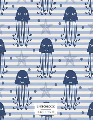 Sketchbook  Jellyfish on Blue Cover (8.5 X 11) Inches 110 Pages, Blank Unlined Paper for Sketching, Drawing, Whiting, Journaling & Doodling