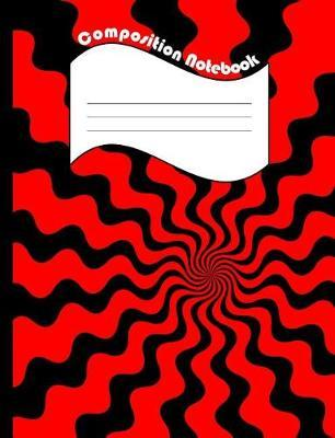 Red Black Wavy Composition Notebook  College Ruled Lined 200 Page Book (7.44 x 9.69)