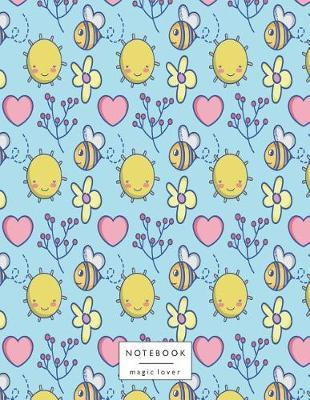 Notebook : Cute Bee on Blue Cover and Lined Pages, Extra Large (8.5 X 11) Inches, 110 Pages, White Paper