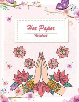 Hex Paper Notebook : Cute Pink Floral, 1/4 Inch Hexagons Graph Paper Notebooks 120 Pages Large Print 8.5 X 11