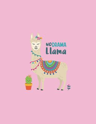 No Darma Llama  Cute Llama on Pink Cover (8.5 X 11) Inches 110 Pages, Blank Unlined Paper for Sketching, Drawing, Whiting, Journaling & Doodling
