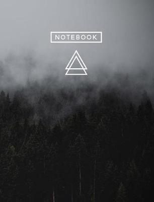 Aesthetic Art Journaling  Light Weight Mountain Hiking Composition Book - 150 Unlined/Drawing Pages - Misty Dark Forest