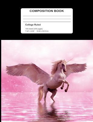 Composition Book : Flying Pink Unicorn in Water College Ruled 200 Page Writing Notebook 7.44 X 9.69