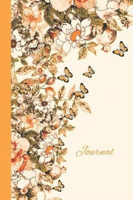 Journal  Flowers and Butterflies (Orange and Gold) 6x9 - Lined Journal - Writing Journal with Blank Lined Pages