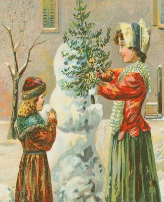 Vintage Victorian Children Build Snowman School Comp Book 130 Pages  (notebook, Diary, Blank Book)