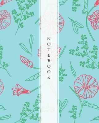Notebook  Wide Ruled Notebook for Everyday Use Aqua with Red Flower Pattern