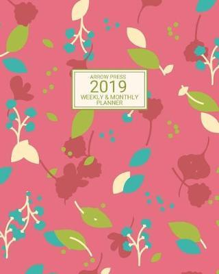 2019  Weekly and Monthly Planner/Calendar Jan 2019 - Dec 2019 Pink Mauve Blue and Green Floral Botanic Design