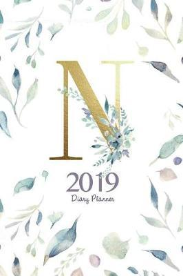 2019 Diary Planner  Watercolor Flowers January to December 2019 Diary Planner with Gold n Monogram.