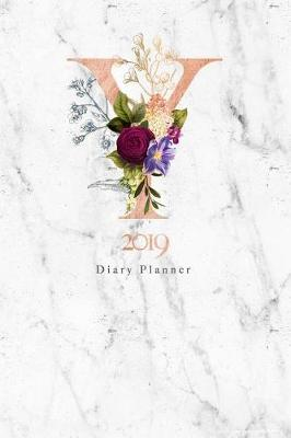 2019 Diary Planner  Abstract Rose Gold Vintage Flowers January to December 2019 Diary Planner with Y Monogram on Luxury Gray Marble.