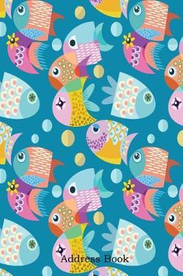 Address Book  Include Alphabetical Index with Fish Graphic Design Seamless Pattern Cover