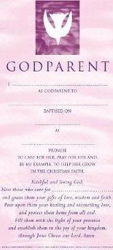 Godparent Certificates Girl Contemporary (pack of 20)