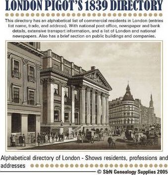 London, Pigot's 1839 Directory of London