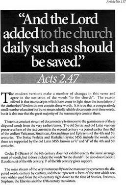 """""""And the Lord Added to the Church Daily Such as Should be Saved"""""""