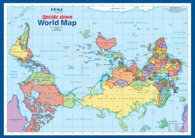 World Upside down A4 Map