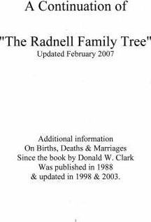 A Continuation of 'the Radnell Family Tree'