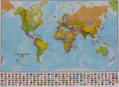 World political without flags laminated with hanging strips 2018