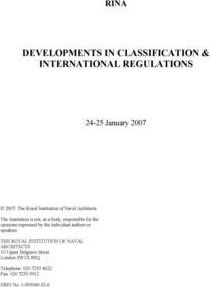Developments in Classification and International Regulations