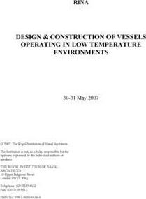 Designand& Construction of Vessels Operating in Low Temperature Environments