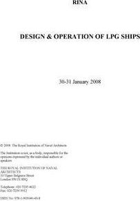 Design and Operation of LPG Ships