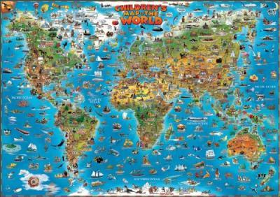 World children's map laminated with hanging strips 2013