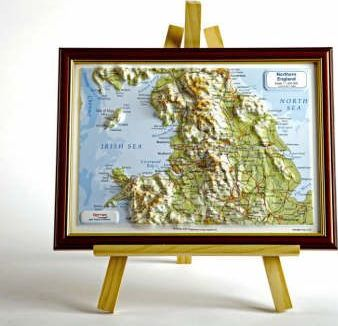 Northern England Raised Relief Map