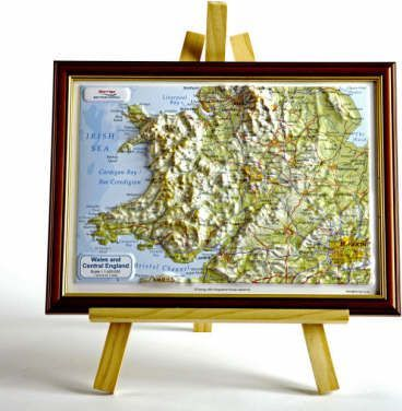 Wales and Central England Raised Relief Map