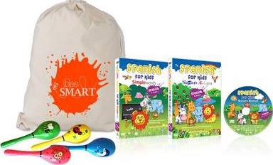 Spanish for Kids Gift Set: Simple Words, Numbers and Colours, Nursery Rhymes with Instrument