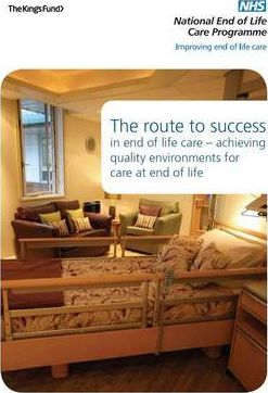 The Route to Success in End of Life Care - Achieving Quality Environments for Care at End of Life