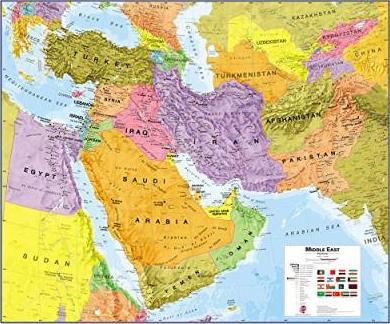 Middle East Political Laminated Map 2016 : 9781910378120