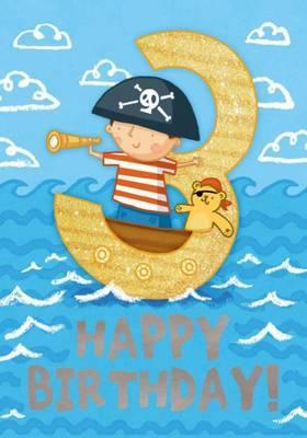 Pirates (Age 3) - Happy Birthday Card-Book  6 Card-Book Pack