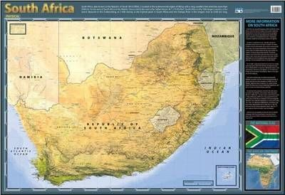 South Africa Physical: Wall Chart
