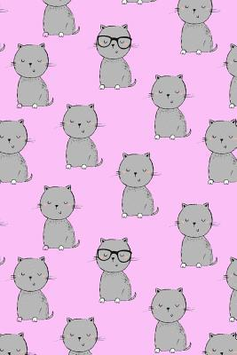 Journal Notebook for Cat Lovers Grey Cats on Pink  110 Page Plain Blank Journal for Drawing, Writing, Doodling in Portable 6 X 9 Size
