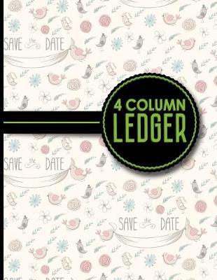 4 Column Ledger  Account Book, Accounting Journal Entry Book, Bookkeeping Ledger For Small Business, Cute Wedding Cover, 8.5 x 11, 100 pages