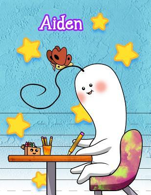 Aiden  Personalized Book with Child's Name, Primary Writing Tablet, 65 Sheets of Practice Paper, 1 Ruling, Preschool, Kindergarten, 1st Grade, 8 1/2 X 11