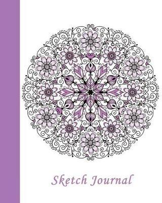 Sketch Journal  Flower Mandala (Purple) 8x10 - Pages Are Lined on the Bottom Third with Blank Space on Top