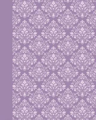 Journal : Damask (Purple) 8x10 - GRAPH JOURNAL - Journal with graph paper pages, square grid pattern