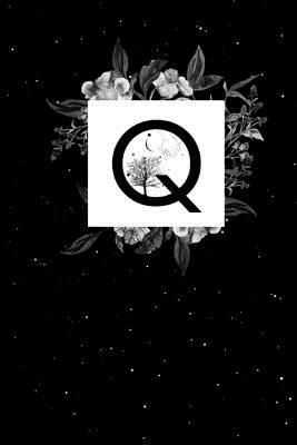 Q  Blank Journal or Notebook with Initial Q, Great Personal Diary, Beautiful Space Floral Design, 6x9, 150 Blank Pages