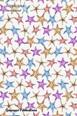 Tropicana Lined Journal  Medium Lined Journaling Notebook, Tropicana Starfish Pattern Jb6 Cover, 6x9, 134 Pages