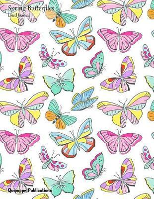 Spring Butterflies Lined Journal  Medium Lined Journaling Notebook, Spring Butterflies Colorful Butterflies Pattern Jb85 Cover, 8.5x11, 204 Pages