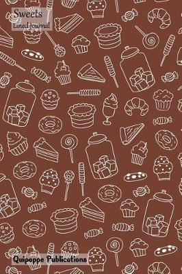 Sweets Lined Journal  Medium Lined Journaling Notebook, Sweets Sweets Line Drawing on Brown Jb6 Cover, 6x9, 134 Pages