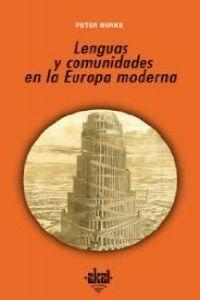 Lenguas y comunidades en la Europa moderna / Languages and Communities in Early Modern Europe