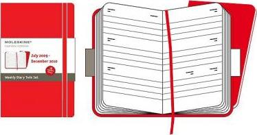 2010 Moleskine Red Twin Set Pocket Weekly Diary 18 Months Hard
