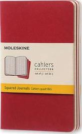 Moleskine Squared Cahier - Red Cover (3 Set)