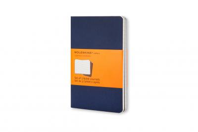 Moleskine Ruled Cahier L - Navy Cover (3 Set)