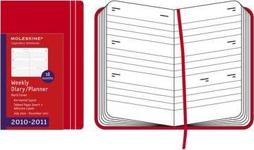 2011 Moleskine Red Large Horizontal Weekly Hard Diary 18 Month